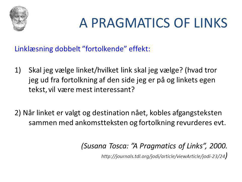 A PRAGMATICS OF LINKS Linklæsning dobbelt fortolkende effekt: