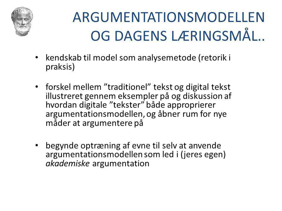ARGUMENTATIONSMODELLEN OG DAGENS LÆRINGSMÅL..