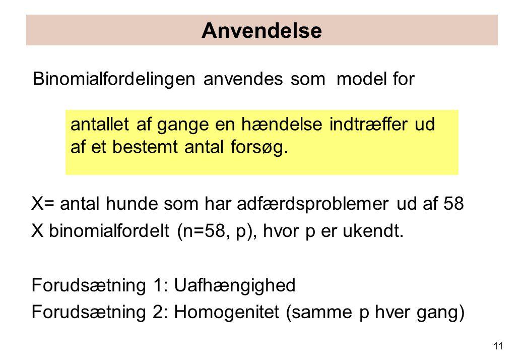 Anvendelse Binomialfordelingen anvendes som model for