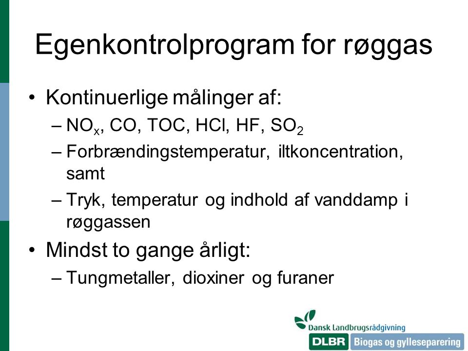 Egenkontrolprogram for røggas