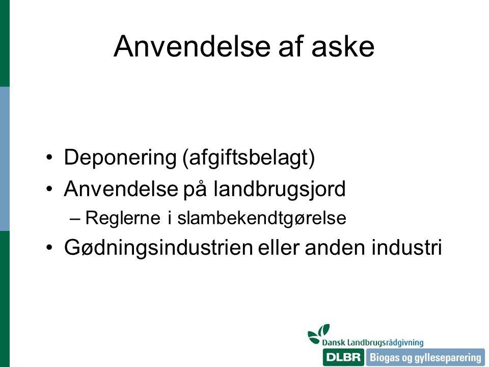 Anvendelse af aske Deponering (afgiftsbelagt)