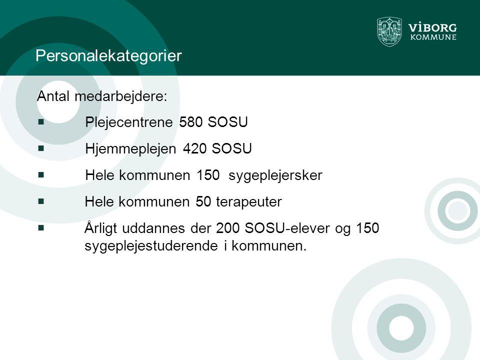 Personalekategorier Antal medarbejdere: Plejecentrene 580 SOSU