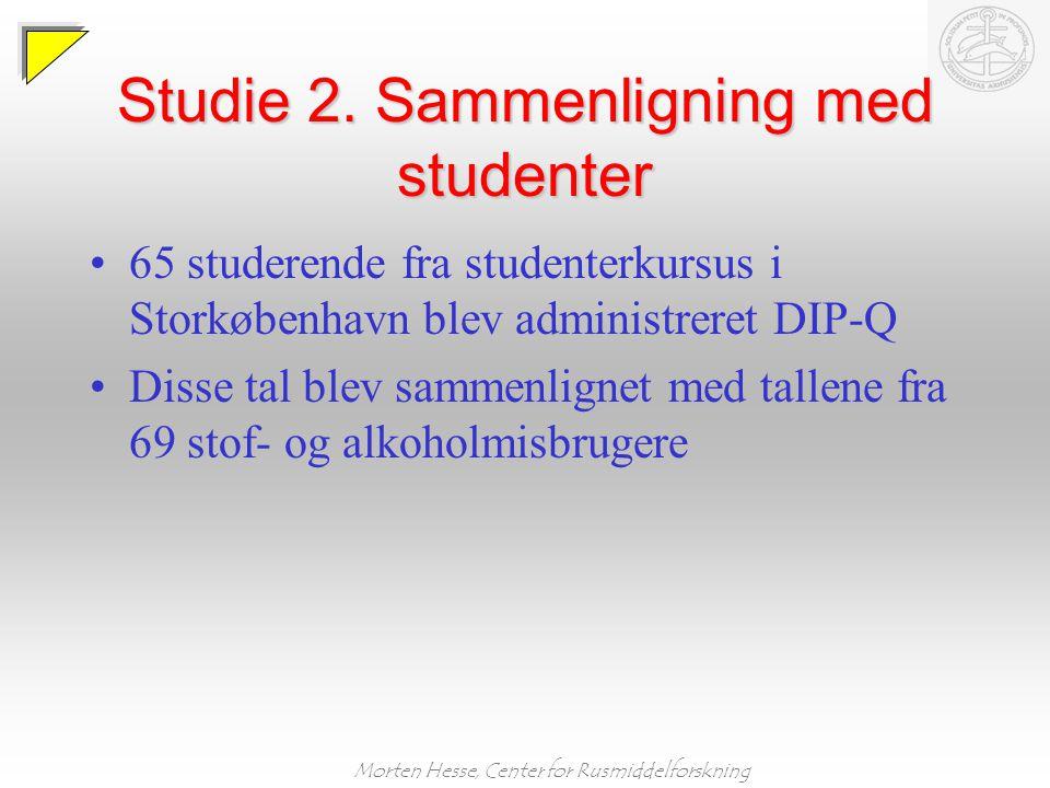 Studie 2. Sammenligning med studenter
