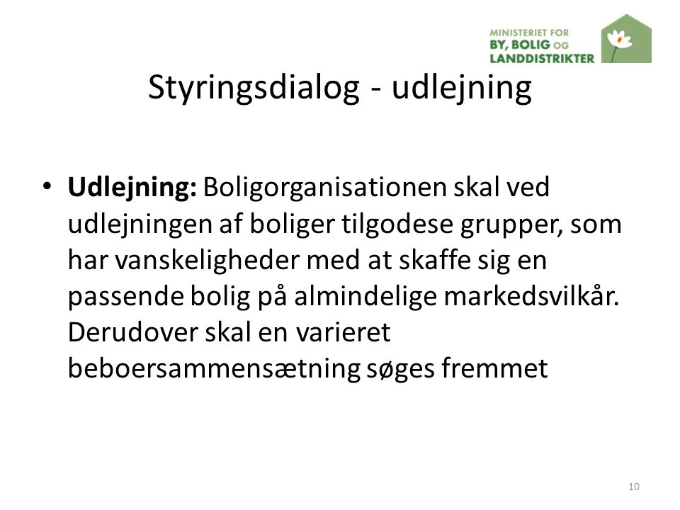 Styringsdialog - udlejning