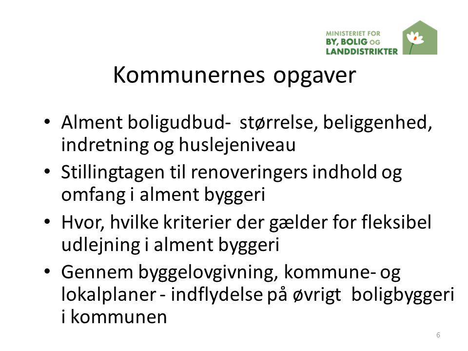 Kommunernes opgaver Alment boligudbud- størrelse, beliggenhed, indretning og huslejeniveau.