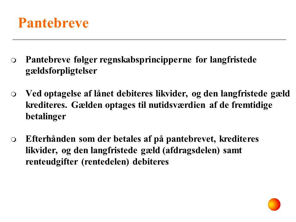Pantebreve Pantebreve følger regnskabsprincipperne for langfristede gældsforpligtelser.