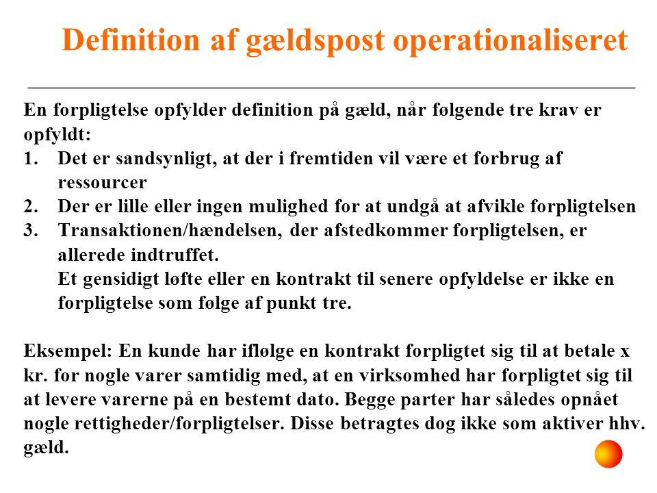 Definition af gældspost operationaliseret