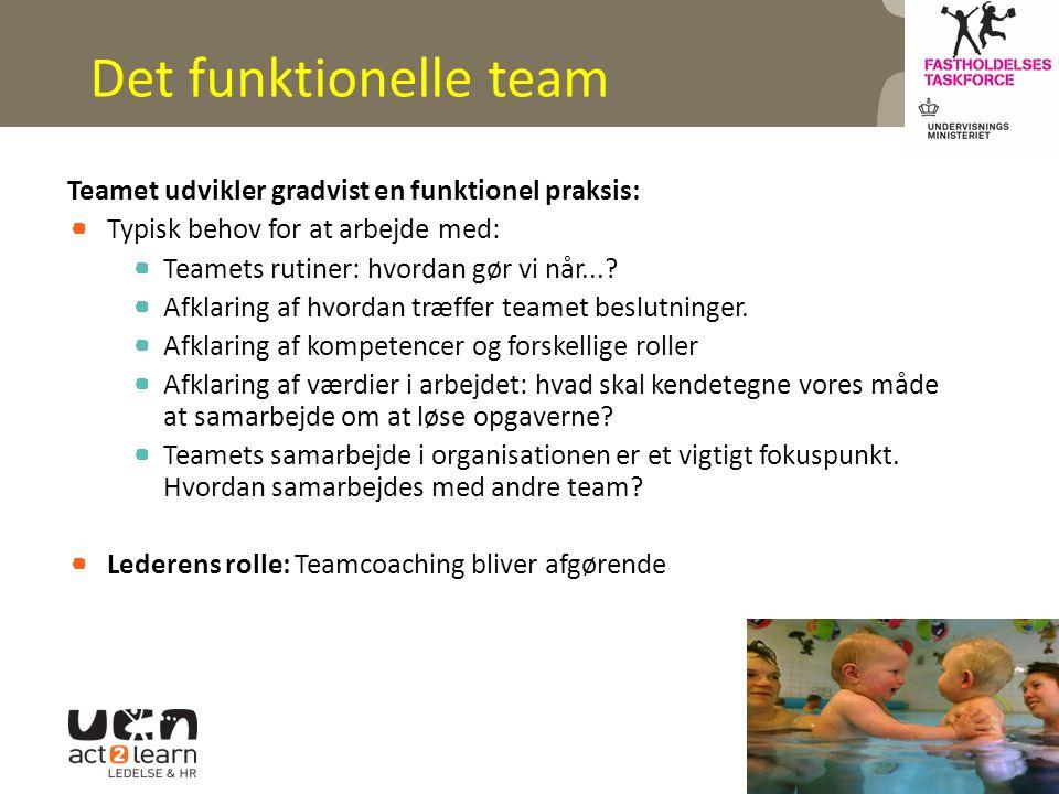 Det funktionelle team Teamet udvikler gradvist en funktionel praksis: