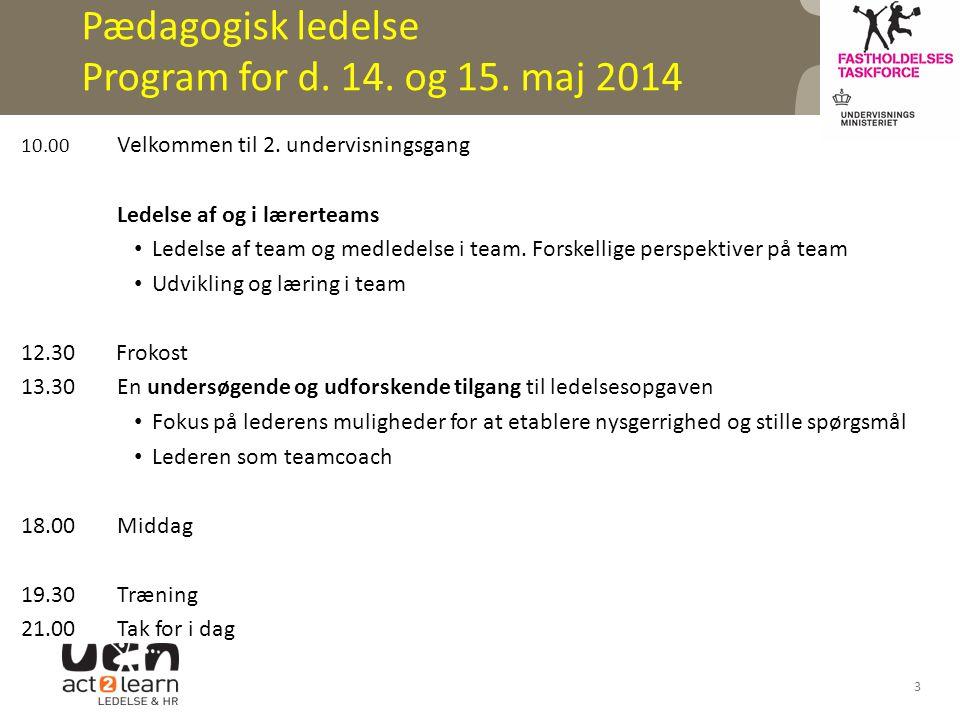 Pædagogisk ledelse Program for d. 14. og 15. maj 2014