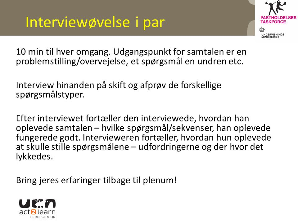 Interviewøvelse i par