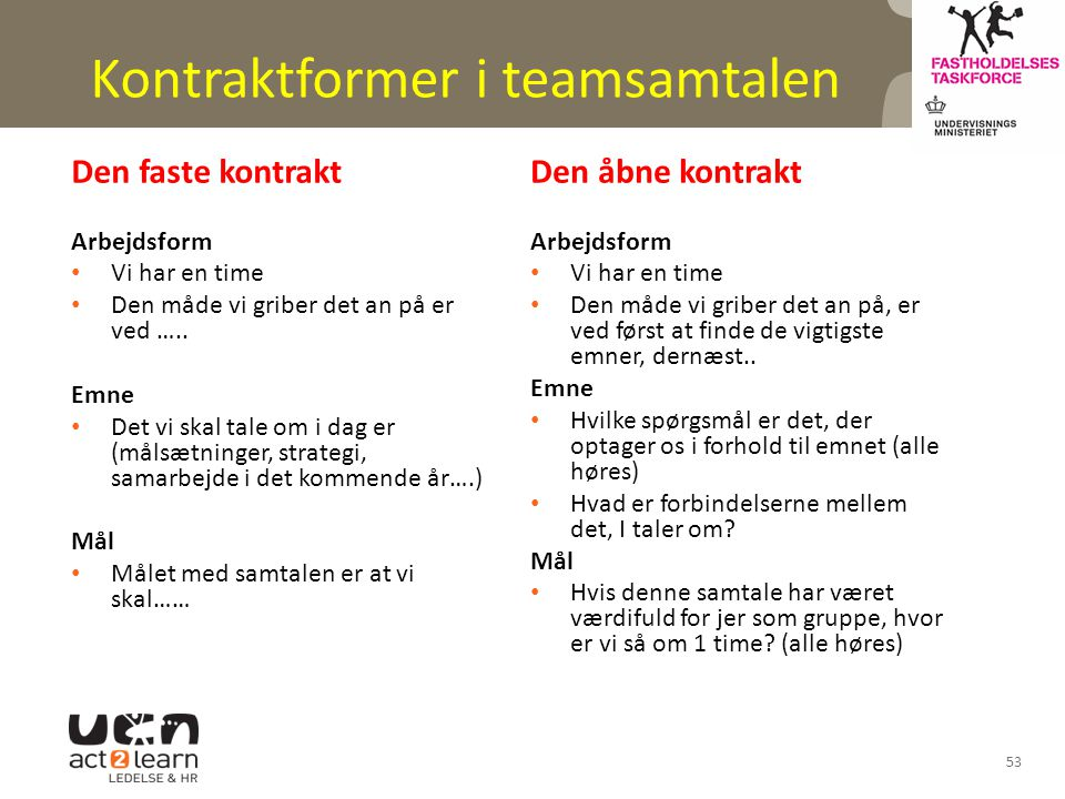 Kontraktformer i teamsamtalen