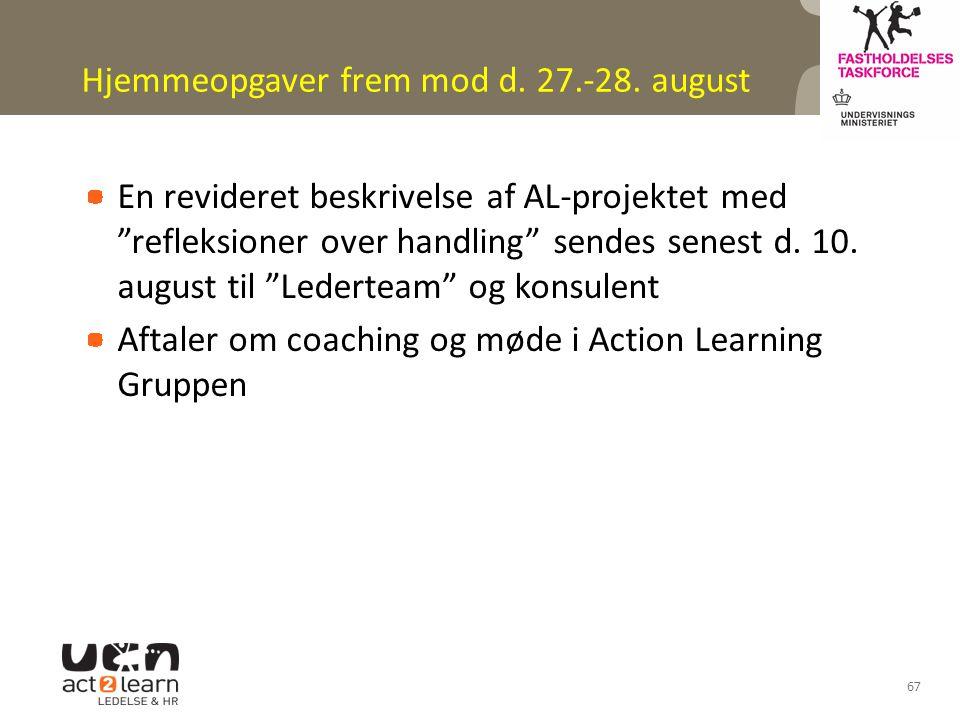 Hjemmeopgaver frem mod d. 27.-28. august