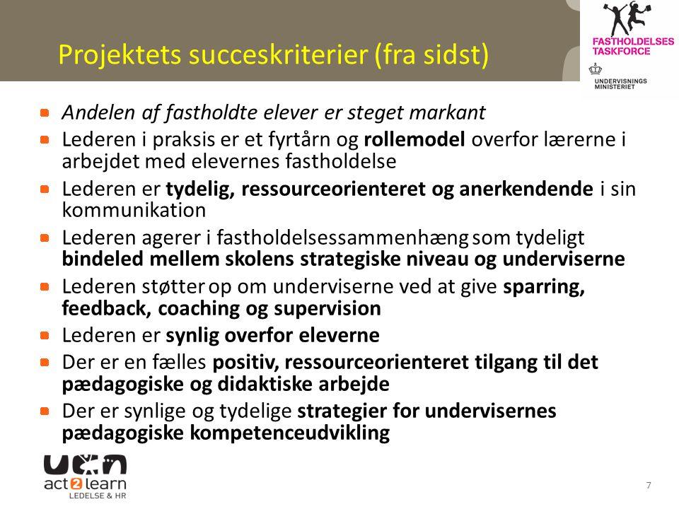 Projektets succeskriterier (fra sidst)