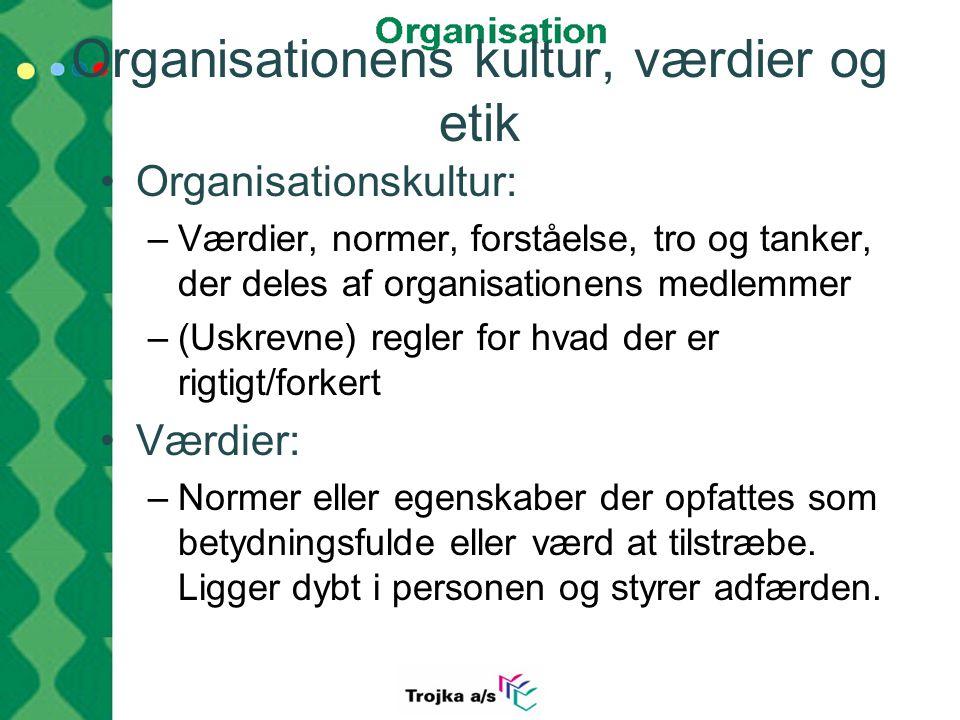 Organisationens kultur, værdier og etik