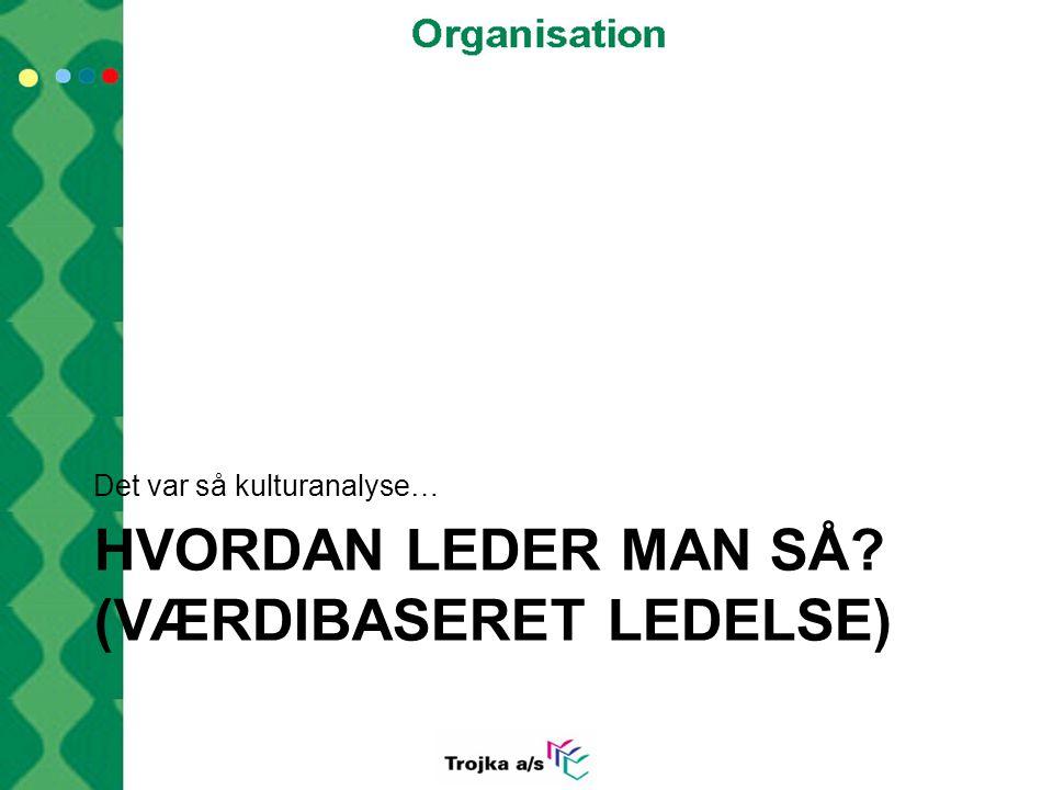 HVORDAN LEDER MAN SÅ (Værdibaseret ledelse)