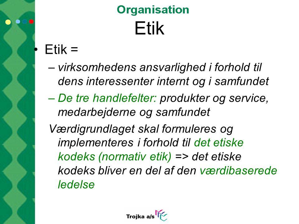 Etik Etik = virksomhedens ansvarlighed i forhold til dens interessenter internt og i samfundet.