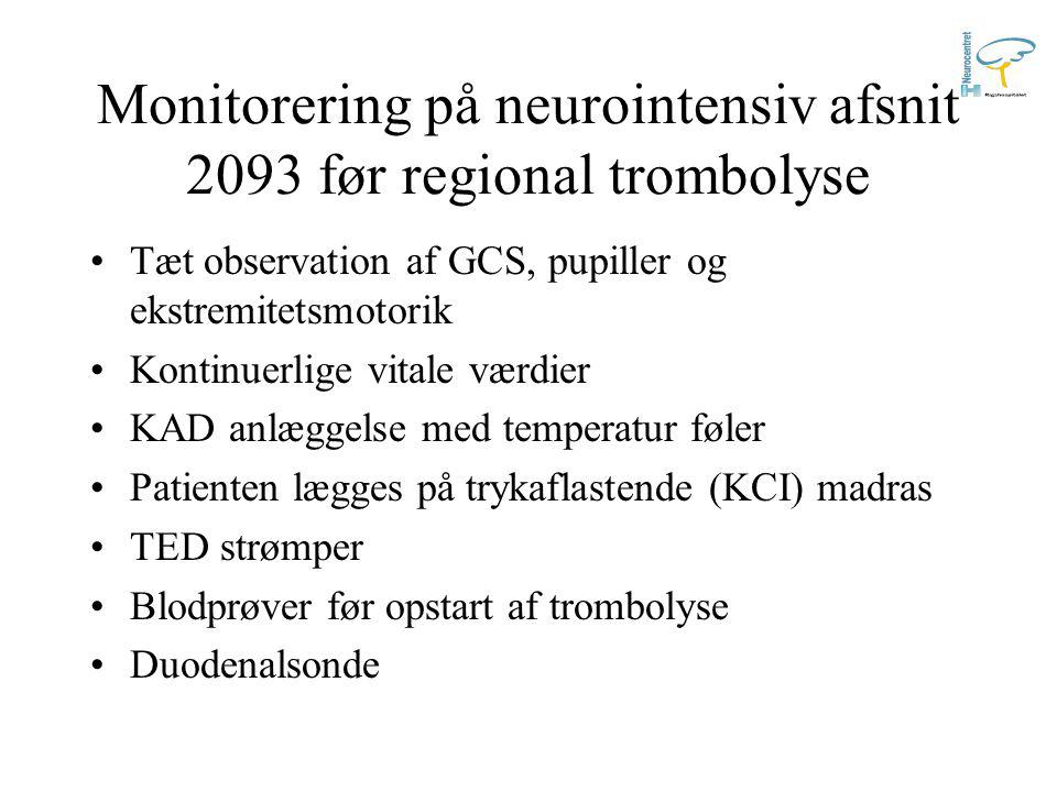 Monitorering på neurointensiv afsnit 2093 før regional trombolyse