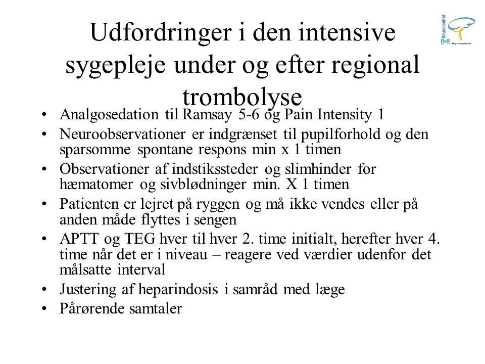Udfordringer i den intensive sygepleje under og efter regional trombolyse