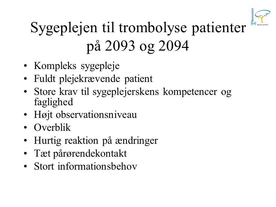 Sygeplejen til trombolyse patienter på 2093 og 2094