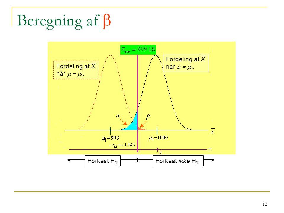 Beregning af  Fordeling af X når m = m0. Fordeling af X når m = m1.