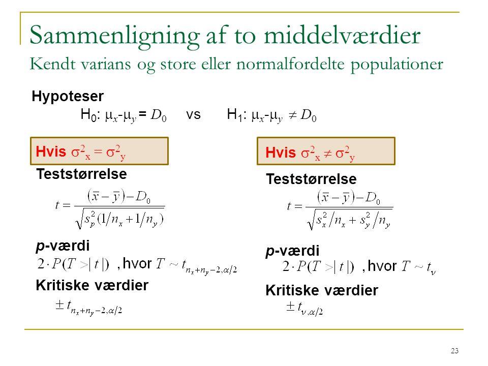 Sammenligning af to middelværdier Kendt varians og store eller normalfordelte populationer