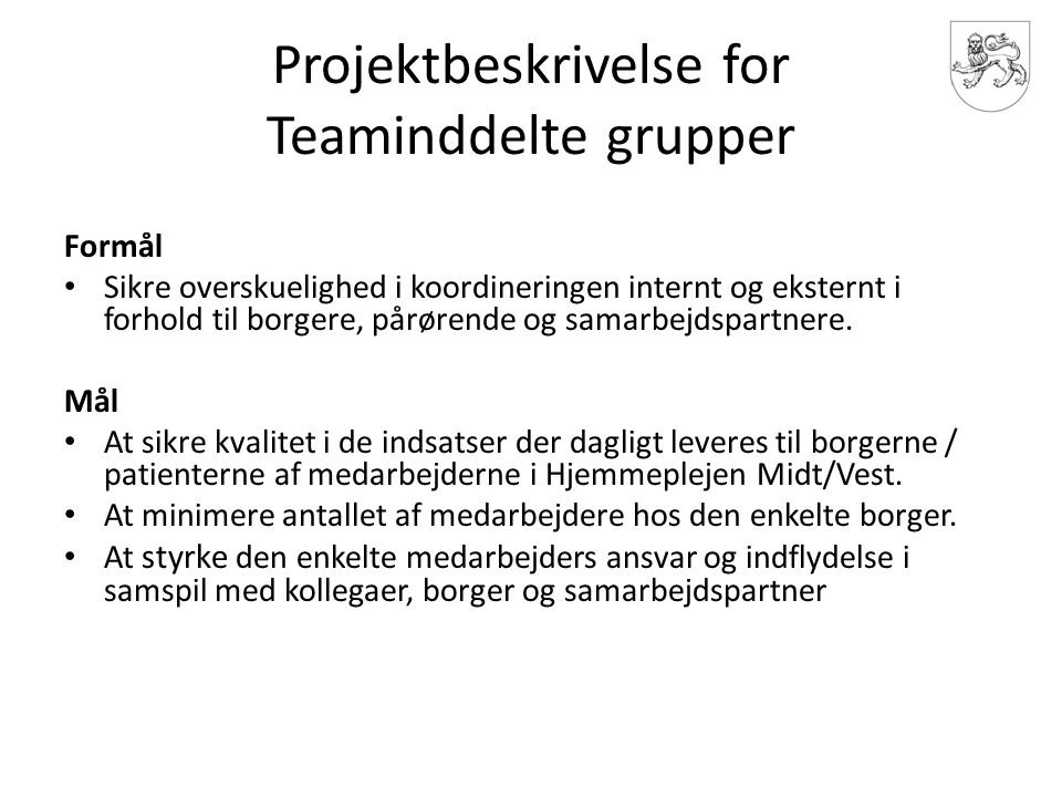 Projektbeskrivelse for Teaminddelte grupper
