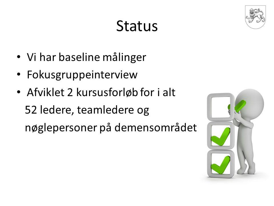 Status Vi har baseline målinger Fokusgruppeinterview