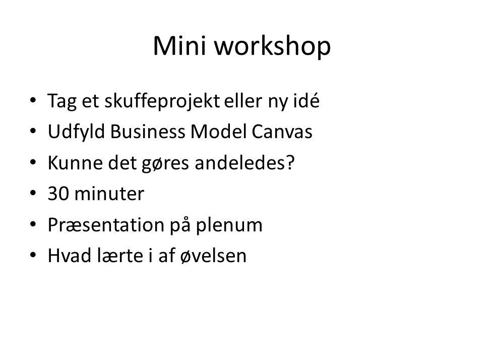 Mini workshop Tag et skuffeprojekt eller ny idé