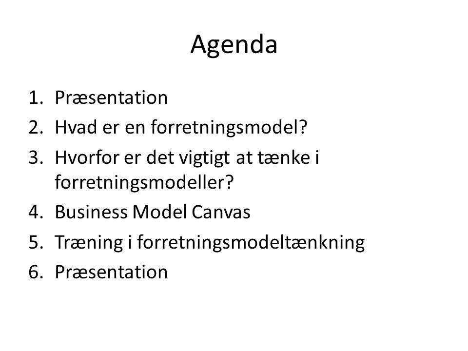 Agenda Præsentation Hvad er en forretningsmodel