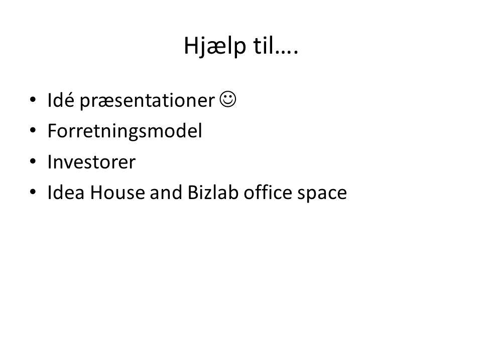Hjælp til…. Idé præsentationer  Forretningsmodel Investorer