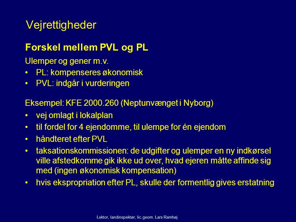 Vejrettigheder Forskel mellem PVL og PL Ulemper og gener m.v.