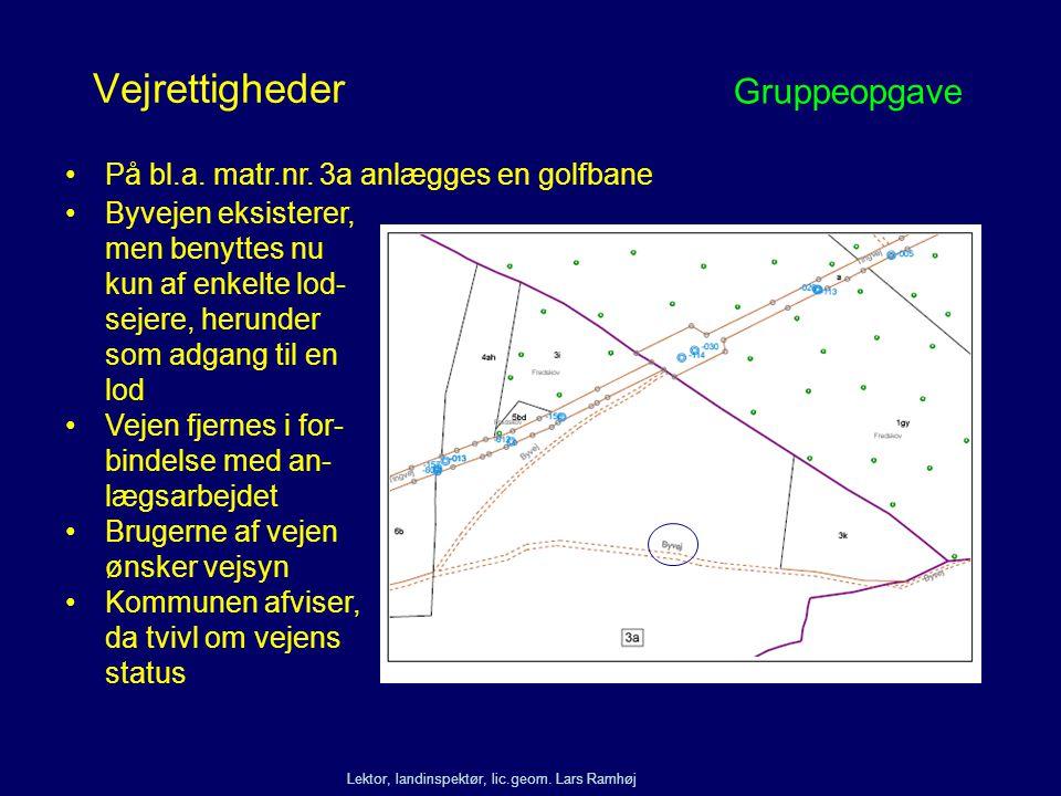 Vejrettigheder Gruppeopgave På bl.a. matr.nr. 3a anlægges en golfbane