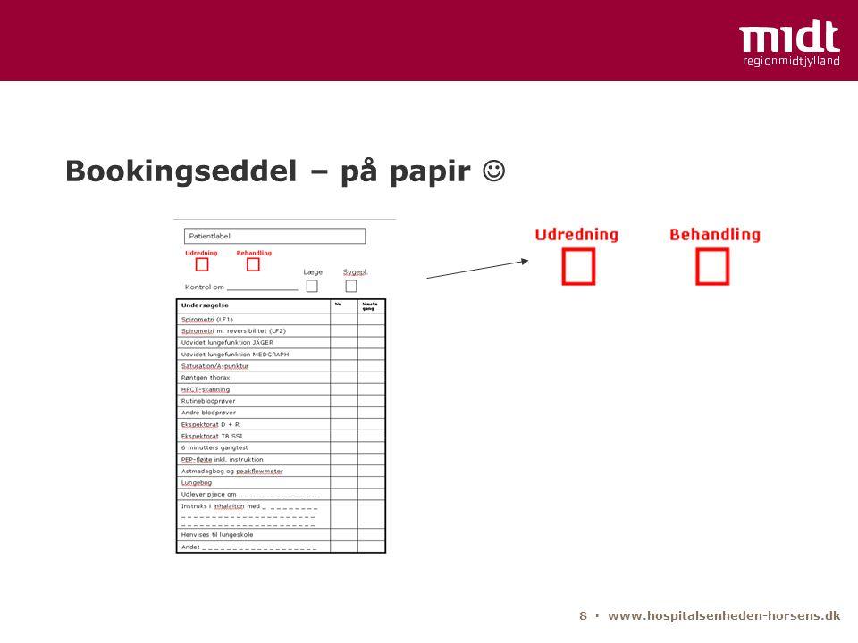 Bookingseddel – på papir 
