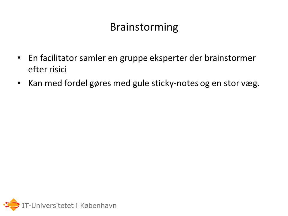 Brainstorming En facilitator samler en gruppe eksperter der brainstormer efter risici.