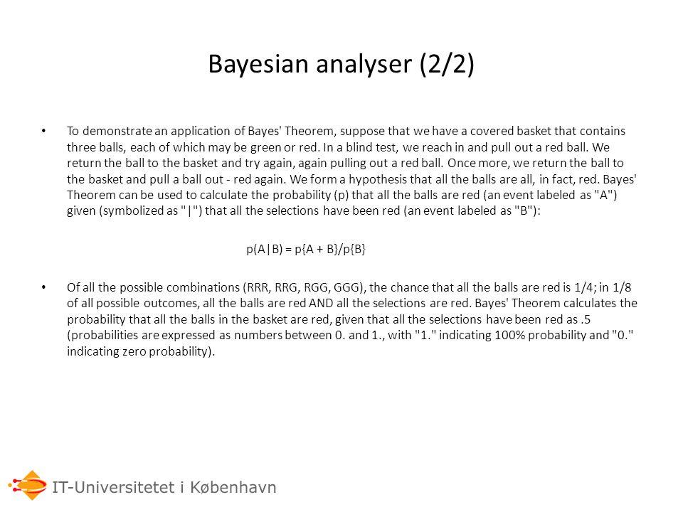 Bayesian analyser (2/2)
