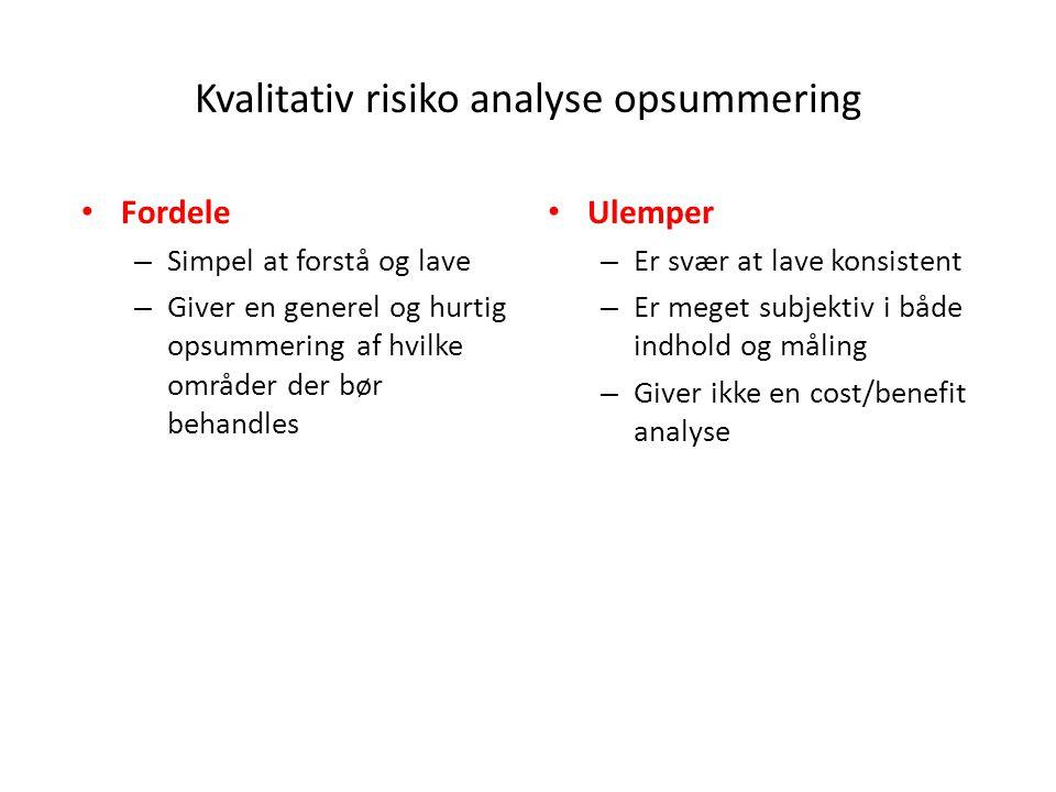Kvalitativ risiko analyse opsummering
