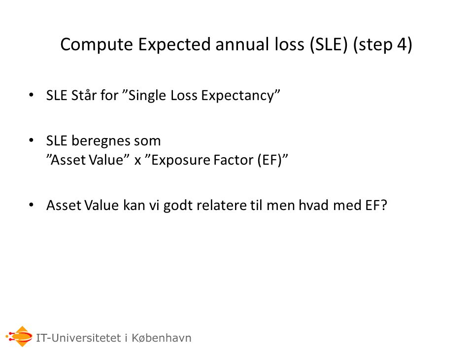 Compute Expected annual loss (SLE) (step 4)