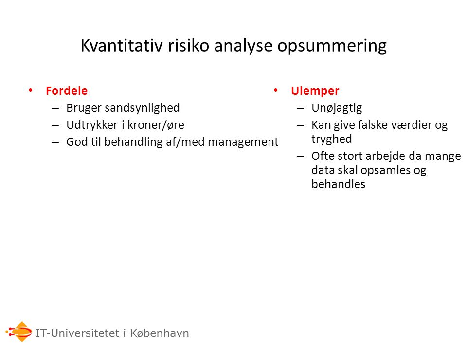 Kvantitativ risiko analyse opsummering