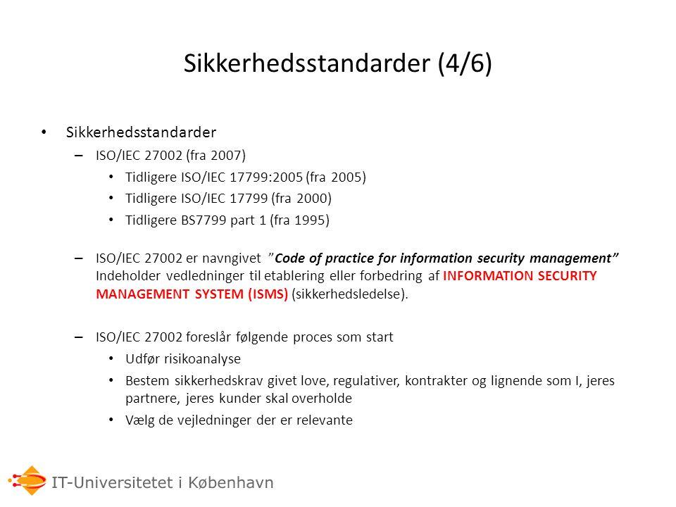 Sikkerhedsstandarder (4/6)