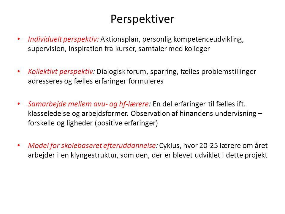 Perspektiver Individuelt perspektiv: Aktionsplan, personlig kompetenceudvikling, supervision, inspiration fra kurser, samtaler med kolleger.