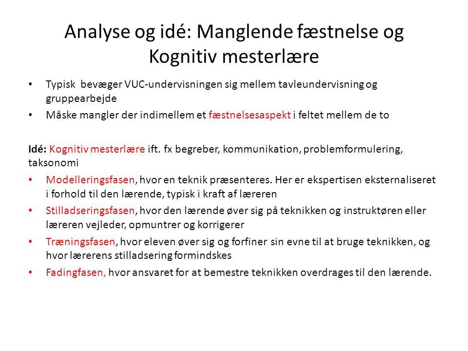 Analyse og idé: Manglende fæstnelse og Kognitiv mesterlære