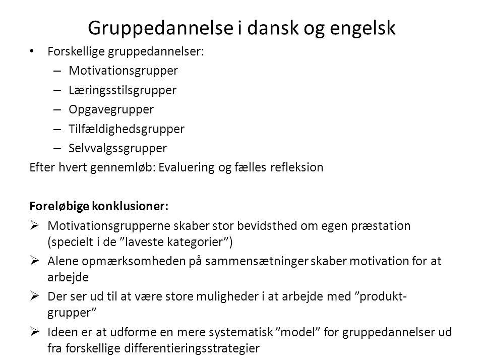 Gruppedannelse i dansk og engelsk