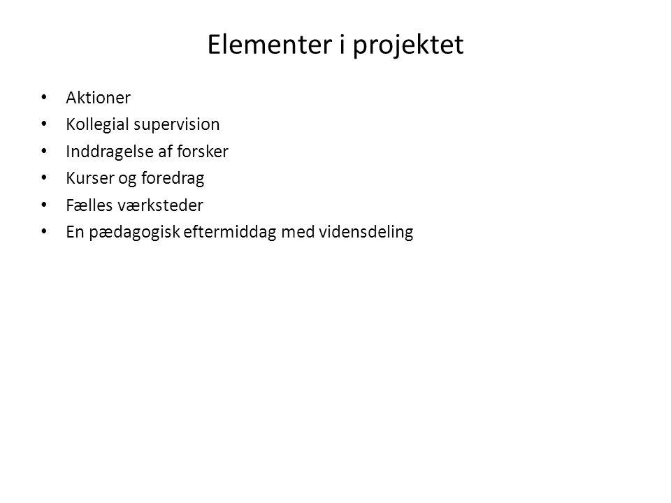 Elementer i projektet Aktioner Kollegial supervision