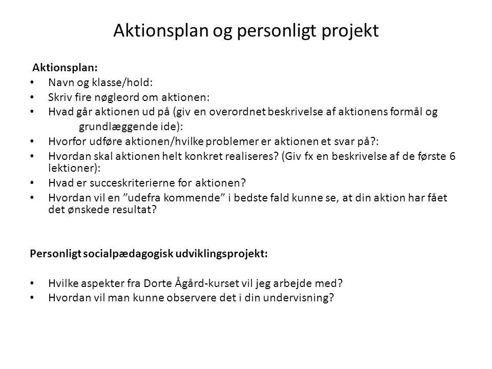 Aktionsplan og personligt projekt