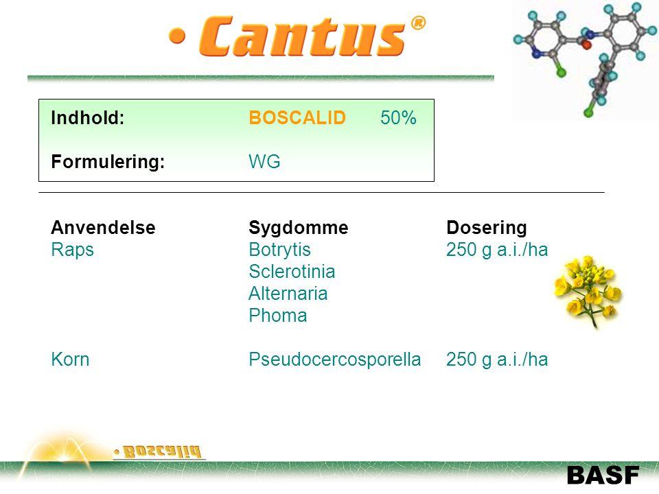 Indhold: BOSCALID 50% Formulering: WG. Anvendelse Sygdomme Dosering. Raps Botrytis 250 g a.i./ha.