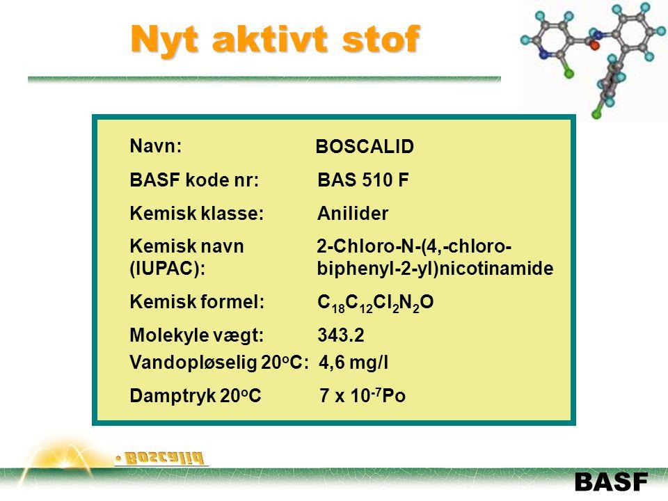 Nyt aktivt stof Navn: BOSCALID BASF kode nr: BAS 510 F Kemisk klasse: