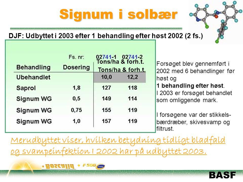 Signum i solbær DJF: Udbyttet i 2003 efter 1 behandling efter høst 2002 (2 fs.) Tons/ha & forh.t.