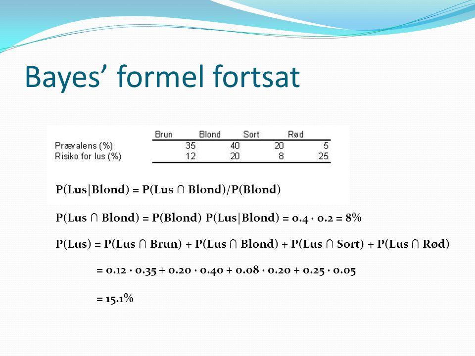 Bayes' formel fortsat P(Lus|Blond) = P(Lus ∩ Blond)/P(Blond)
