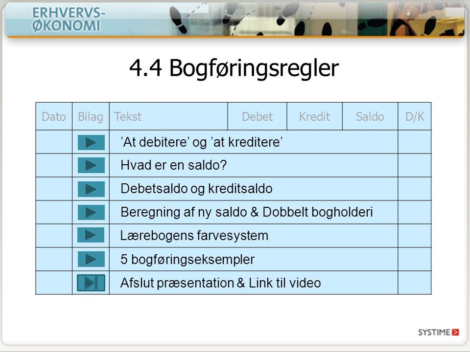 4.4 Bogføringsregler 'At debitere' og 'at kreditere' Hvad er en saldo