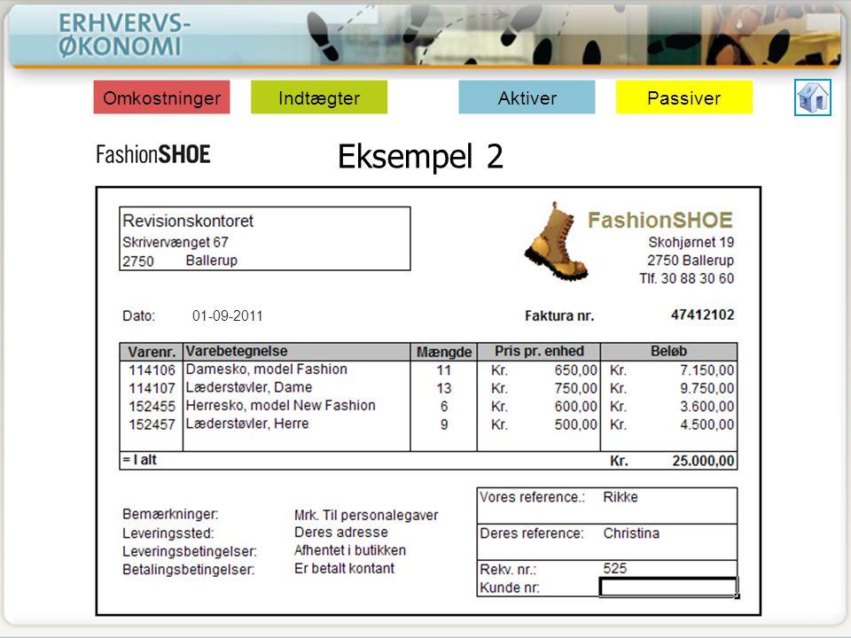 Omkostninger Indtægter Aktiver Passiver Eksempel 2 01-09-2011
